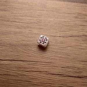 Pandora ruby halo square charm